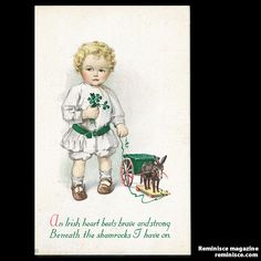 St. Patrick's Day wishes on a 1920s vintage postcard