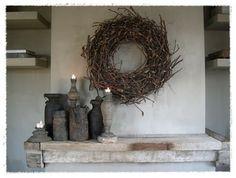 Love the rustic! Rustic Elegance, Rustic Charm, Stick Wreath, Branch Decor, Front Door Decor, Rustic Interiors, Wabi Sabi, Grapevine Wreath, Willow Wreath