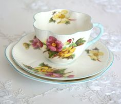 Vintage Shelley Begonia Tea Cup and Saucer Trio by VintageFlares