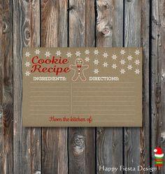 PRINTABLE Christmas Cookie Recipe Card-Christmas Cookie