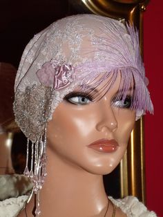 1920s Flapper Cloche Taupe Pink Siver by ludascrafts etsy.com