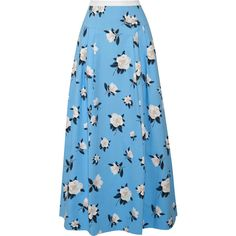 Draper James Pleated printed cotton-piqué maxi skirt (580 BAM) ❤ liked on Polyvore featuring skirts, light blue, blue pleated skirt, long skirts, pleated skirt, blue pleated maxi skirt and long floral skirts