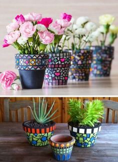 Mosaics are always very popular and attracts attention. Arm yourself with patience because it is an easy but sensitive work, use your imagination and you will get from the old ones new fancy pots.