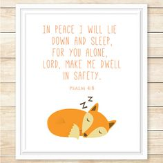 INSTANT DOWNLOAD, Psalm 4:8, Bible Verse Print, Printable Wall Art, Woodland Decor, Scripture Print, Fox Decor, Nursery Art, coffeeandcoco