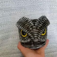Pencil Holders For Desk, Pen Holders, Owl Crafts, Diy And Crafts, Diy Stationery Holder, Cup And Saucer Crafts, Pencil Cup, Gray Owl, Paper Anniversary
