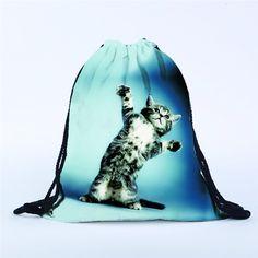 Fashion Cat Drawstring Bag Mochila Feminina Large Soft Backpack Animal 3D Printing Shopping Beach Travel Bags Wholesale noJY17 #Affiliate
