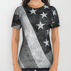 b857313098 American flag - retro style in grayscale All Over Print Shirt by Bruce  Stanfield