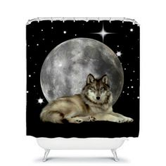 Wolf and Moon Shower Curtain by FolkandFunky on Etsy