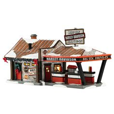 The Jolly Christmas Shop - Dept 56 Snow Village Series Harley Davidson Harley Big Tin Drive-In Building 4042407, $125.00 (http://www.thejollychristmasshop.com/dept-56-snow-village-series-harley-davidson-harley-big-tin-drive-in-building-4042407/?page_context=category