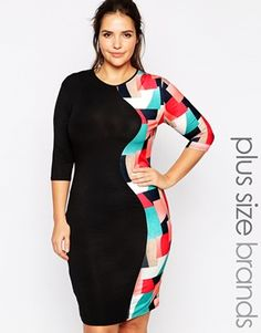 Club L Plus Midi Dress Side Panel Midi dress with Geo Print