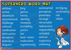 Teacher's Pet Displays » Superhero Word Mat » FREE downloadable EYFS, KS1, KS2 classroom display and teaching aid resources » A Sparklebox alternative