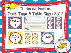 Here's is a fun and colorful set of desk tags and table signs inspired by Dr. Seuss! Your students are sure to love these colorful printables. This set includes 9 different color schemes and backgrounds. You will receive desk tags, large table signs you can hang, small table signs for bins and baskets and blank signs for all.