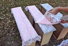 How to Spray-Paint Lace onto your Recycled Furniture Lay a strip of lace on top of your drawer. Spray-paint right over it and let it dry a bit. Remove lace from insert dresser drawer. (For the girls' room) Home Crafts, Diy Home Decor, Diy Crafts, Recycled Furniture, Painted Furniture, Furniture Makeover, Diy Furniture, Redoing Furniture, Furniture Stencil