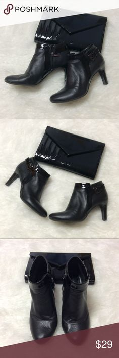 """BANDOLINO BLACK ANKLE BOOTS Gorgeous black leather boots with patent leather contrast. Heel is 3.5"""" and zip entry. Toes have minor scuffs that will cover with polish and one heel has a ding. Overall in very good condition. The leather is super soft. Bandolino Shoes Ankle Boots & Booties"""