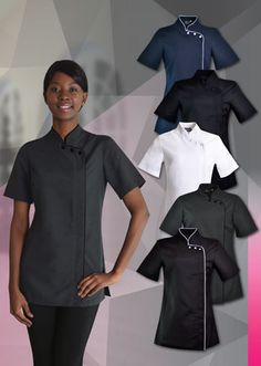 The Madri beauty salon tunic reflects the style of oriental salons. It is common to see these stylish beauty tops at niche salons and spa's across Johannesburg and Cape Town. The fashionable design of the madri salon top caters to beauty therapists looking for a versatile beautician uniform. In addition to style, the durability of this beauty salon clothing range makes them perfectly suited daily use in busy health and beauty salons   Salon tunic designed with back darts for a feminine fit…