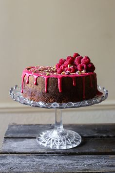 This Raspberry Pistachio Cake is beautifully moist and fragrant. Pistachios are blended into a paste as the basis of the sponge and a handful of raspberries are baked into the batter. Finally a tangy raspberry icing is drizzled over the top with fresh raspberries and pistachios to scatter.