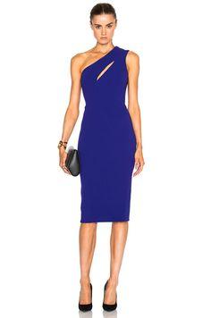 Victoria Beckham Matte Crepe On Shoulder Fitted Cut Out Dress in Deep Cobalt