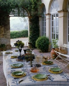 Outdoor dining, a beautiful view and fabulous tablescape
