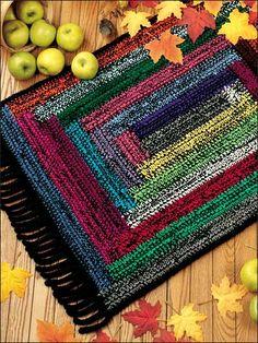 Log Cabin Welcome Rug - Crochet