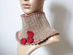 Col montant marron en laine et alpaga, tour de cou fleurs rouges pour femme    2a07424b9c2