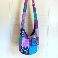 Patchwork Hobo Bag Sling Bag Floral Batik Blue by 2LeftHandz, $38.00