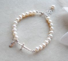 Sideways Cross Pearl and Initial Bracelet First Communion Gift B121. $25.00, via…