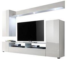 trendteam DS94501 Wohnwand Anbauwand Wohnzimmerschrank weiß Nachbildung und Front in weiß Hochglanz, BxHxT 208 x 165 x 33 cm