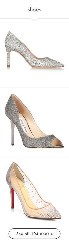 """shoes"" by thatsluv on Polyvore featuring shoes, pumps, silver, high heel pumps, glitter pumps, miu miu pumps, slip on shoes, pointy toe high heel pumps, gray shoes e glitter stiletto pumps"