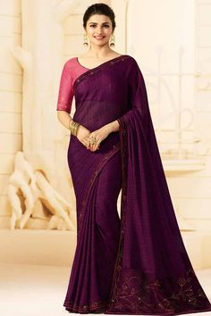 638b8d71d5 Work Type: Stones Work Saree Color: Purple Blouse Color: Pink Saree Fabric:  Georgette Blouse Fabric: Art Silk Saree Size: Metres Blouse Piece Size:  Metre ...