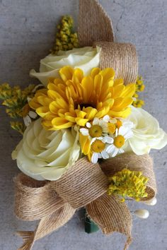 2 sunflower wedding burlap wrist corsages rustic wedding similar ideas junglespirit Gallery
