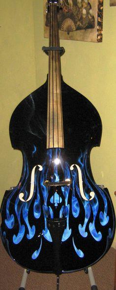Kade's Customs, upright bass, blue true fire rockabilly