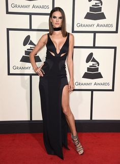 Alessandra Ambrosio arrives at the 58th Annual Grammy Awards on February 15, 2016 in Los Angeles.