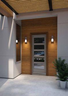 Modern Exterior Lighting, Modern Outdoor Wall Lighting, Modern Lighting Design, Outdoor Wall Sconce, Outdoor Walls, Modern Garage Doors, Modern Exterior Doors, Exterior House Colors, Wood Cladding Exterior