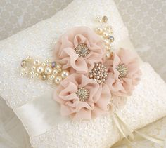 Ring Bearer Pillow Bridal Pillow in Ivory and Blush by SolBijou, $105.00
