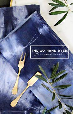 Indigo Hand Dyed Flour Sack Towels | PepperDesignBlog.com