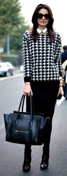 black n white herringbone & black dress n cute