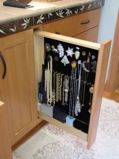 hidden built in jewelry storage-built into the bathroom vanity