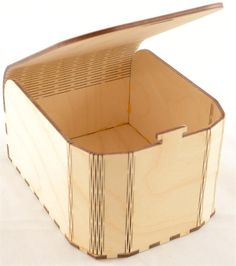 Curved Front Snap Fit Wood Box with Lid Open