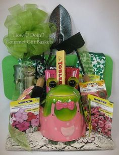 Spring Frog Garden Gift Basket