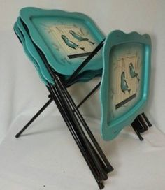 Set 4 Mid Century Metal Folding TV Tray Tables Aqua