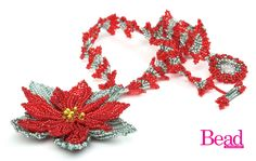 Beautiful beaded poinsettia pattern in Issue 51 of Bead. Make the herringbone neckstrap in a FREE project over on the blog