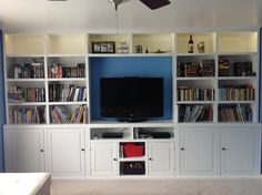 My new office media center do it yourself home projects from we could use the whole wall in the game room perfect for the tv games toys and books solutioingenieria Gallery
