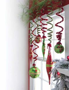 window decorations: pipe cleaners and ornaments (hang from a tension curtain rod if needed)