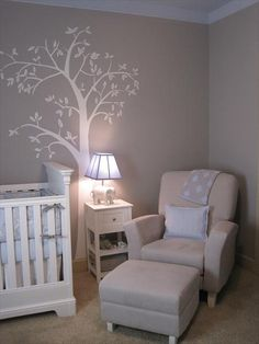 gray and blue nursery - I like the elephant lamp