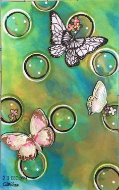 Designed: Maria M. Rivera Felix - mixed media art journal page, dylusions paint, and found butterfly stickers.