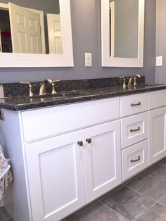 """This is a """"Park Place"""" White Icing maple vanity by Medallion Cabinetry used in a recent bath remodel in North Reading, MA. North Reading, White Icing, Wet Bars, Bath Remodel, New Construction, Baths, Vanity, Park, Design"""