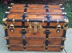 307 Year Old Antique Flat Top Trunks Beautifully Restored Vintage Trunks, Antique Trunks, Antique Chest, Trunk Furniture, Furniture Design, Trunks For Sale, Steamer Trunk, Trunks And Chests, Foot Locker