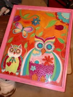 yeah I want this on the front windows!!    Pink Hand Painted Owls on vintage window
