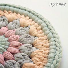פרוייקט תחת. Day#3 הוראות מפורטות בדף הפייסבוק. נתראה מחר ☀️ #diy #tshirtyarn #crochet #crocheting #trapillo #סריגה #עושהעיניים #תחתיתלסיר #חוטיטריקו #פרוייקטתחת #crochetpotholder Crochet Carpet, Crochet Home, Crochet Yarn, Crochet Stitches, Crochet Mandala, Tapestry Crochet, Knitting Patterns, Crochet Patterns, Stoff Design