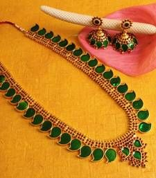 Buy BEAUTIFUL LONG MANGO NECKLACE WITH MATCHING EARRINGS south-indian-jewellery online
